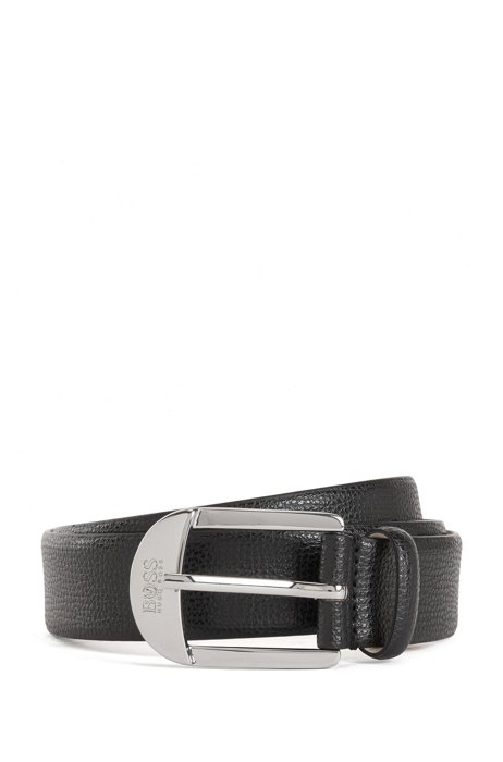 Italian-made belt in leather with logo-engraved buckle, Black
