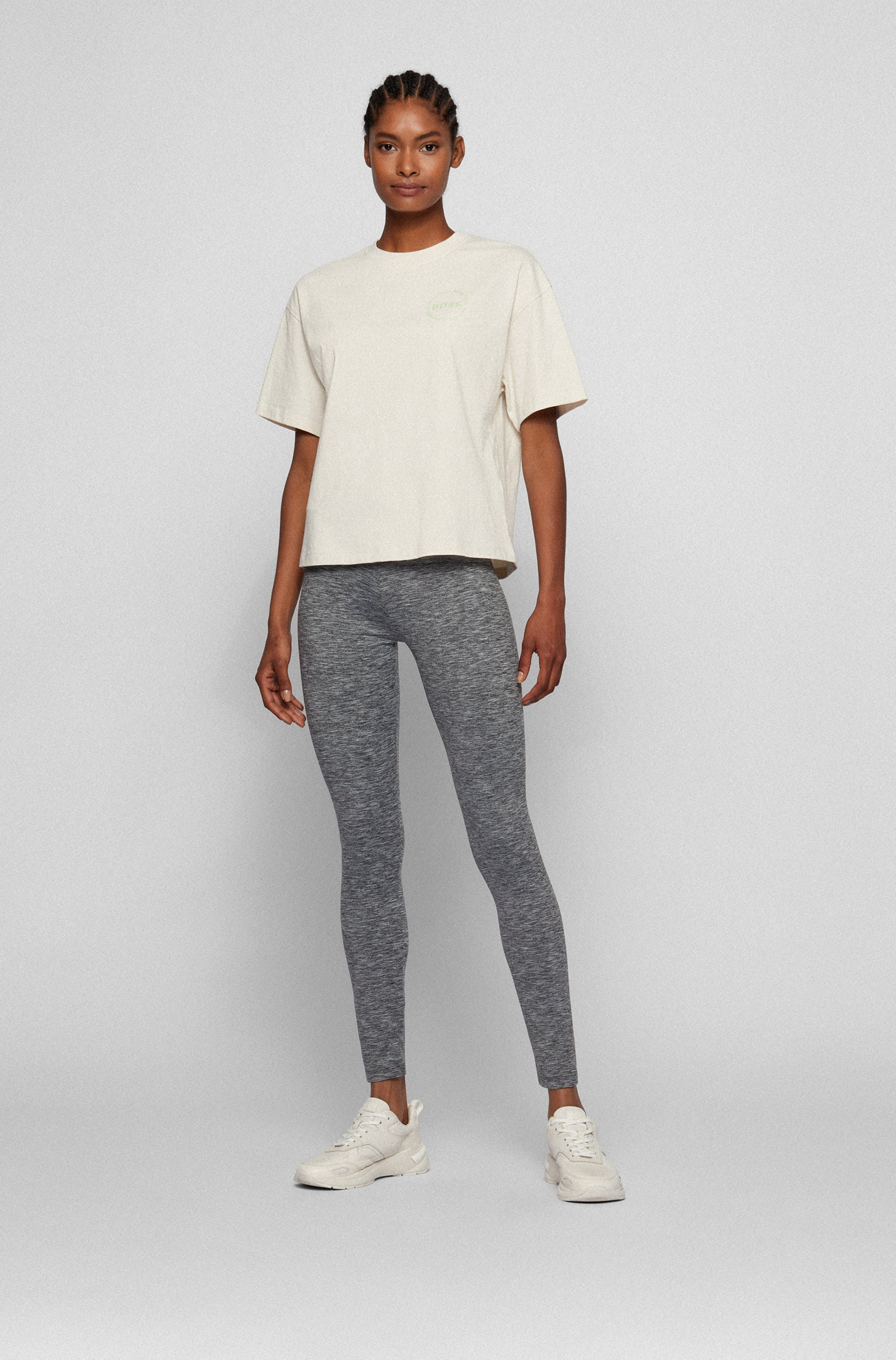 Super-stretch leggings with striped waistband