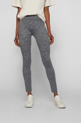 Super-stretch leggings with striped waistband, Silver
