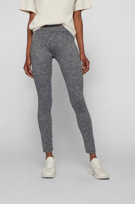 Superelastische legging met gestreepte tailleband, Silver