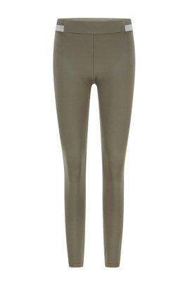 Super-stretch leggings with striped waistband, Dark Green