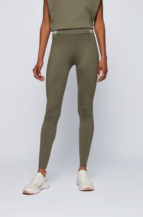 Superelastische legging met gestreepte tailleband, Dark Green