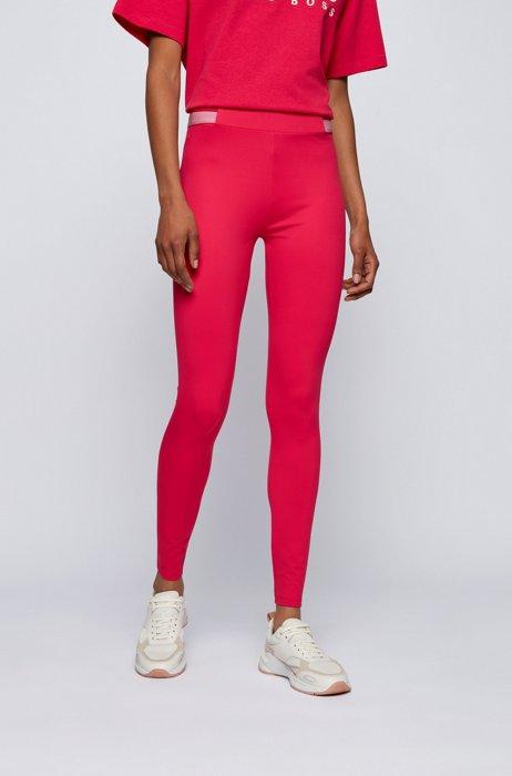 Superelastische legging met gestreepte tailleband, Pink