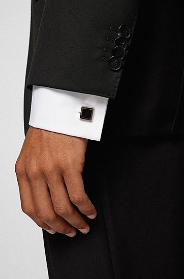图案装饰珐琅镶嵌蚀刻徽标方形袖扣,  001_Black
