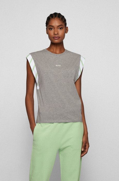 Oversized-fit sleeveless T-shirt in organic cotton with logo, Patterned