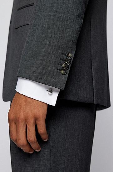 蚀刻徽标不锈钢球形袖扣,  040_Silver