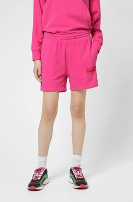 Relaxed-fit shorts in French-terry cotton, Pink