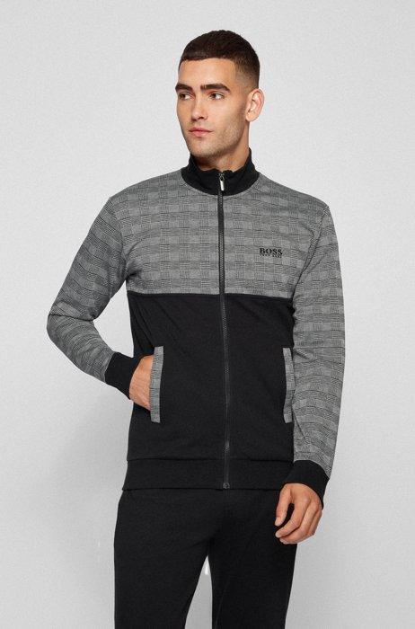 Colour-block regular-fit loungewear jacket with logo , Dark Grey