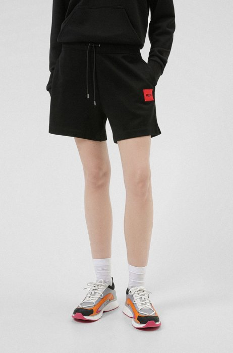French-terry cotton shorts with red logo label, Black