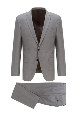 Slim-fit suit in patterned virgin-wool serge, Grey