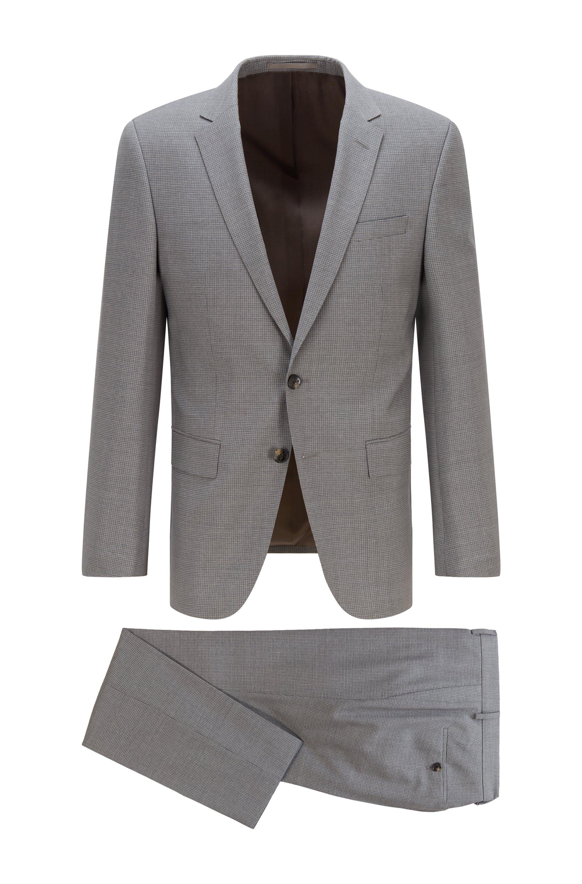 Slim-fit suit in patterned virgin-wool serge, Grey