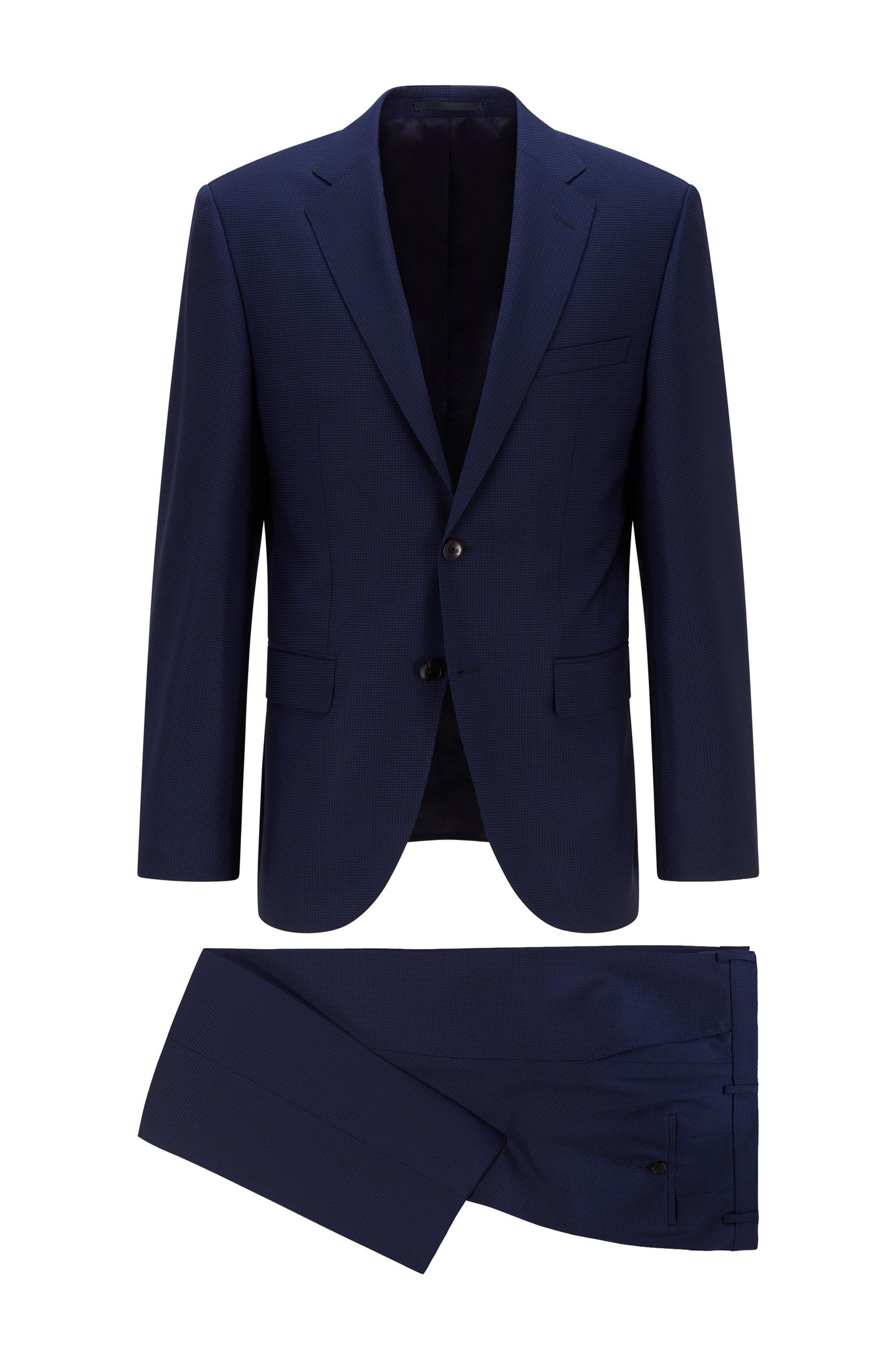Regular-fit suit in virgin-wool serge, Dark Blue
