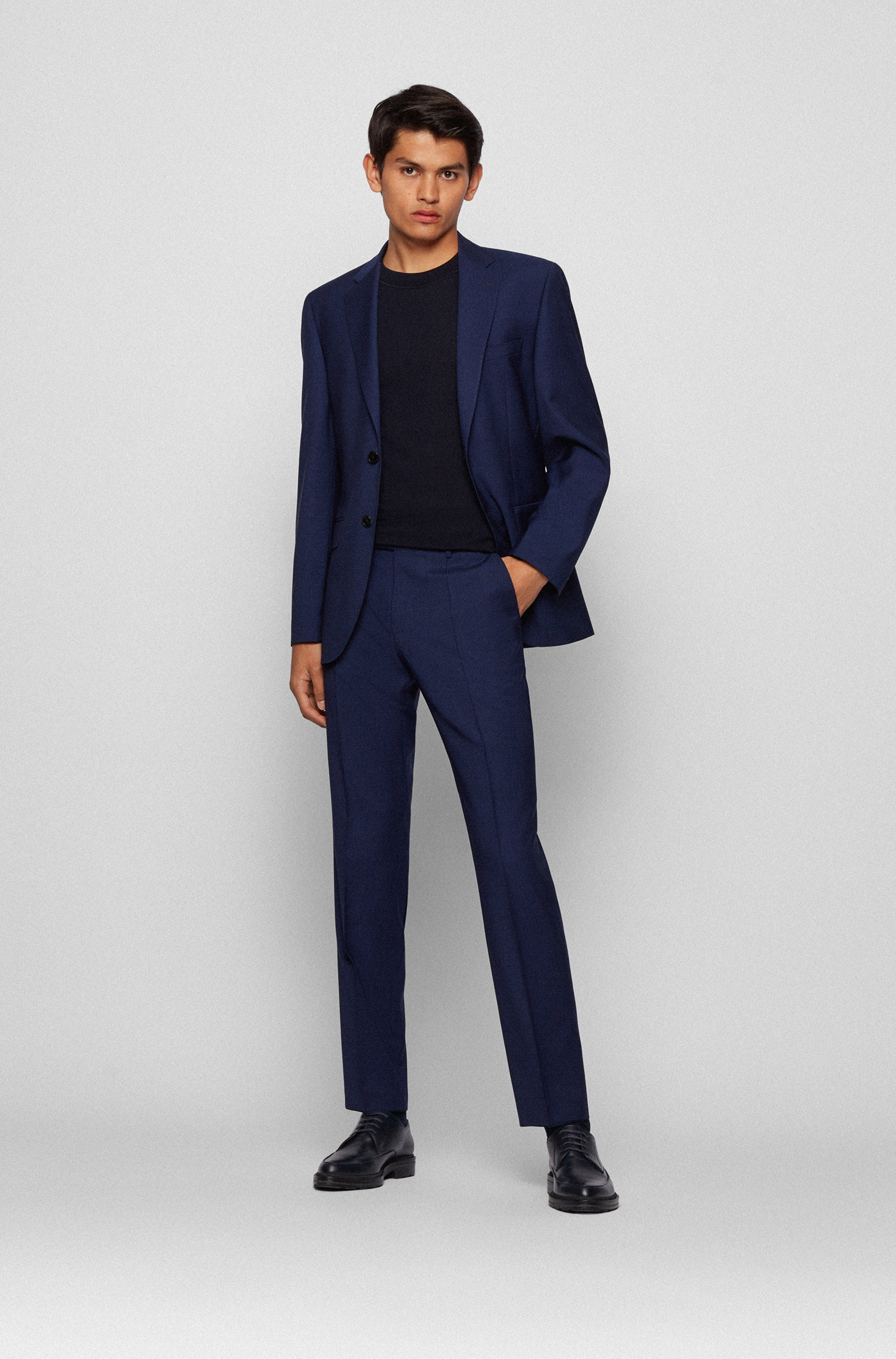 Regular-Fit Anzug aus Schurwoll-Serge