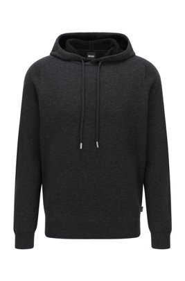 Hooded sweater in virgin wool with cotton and cashmere, Dark Grey