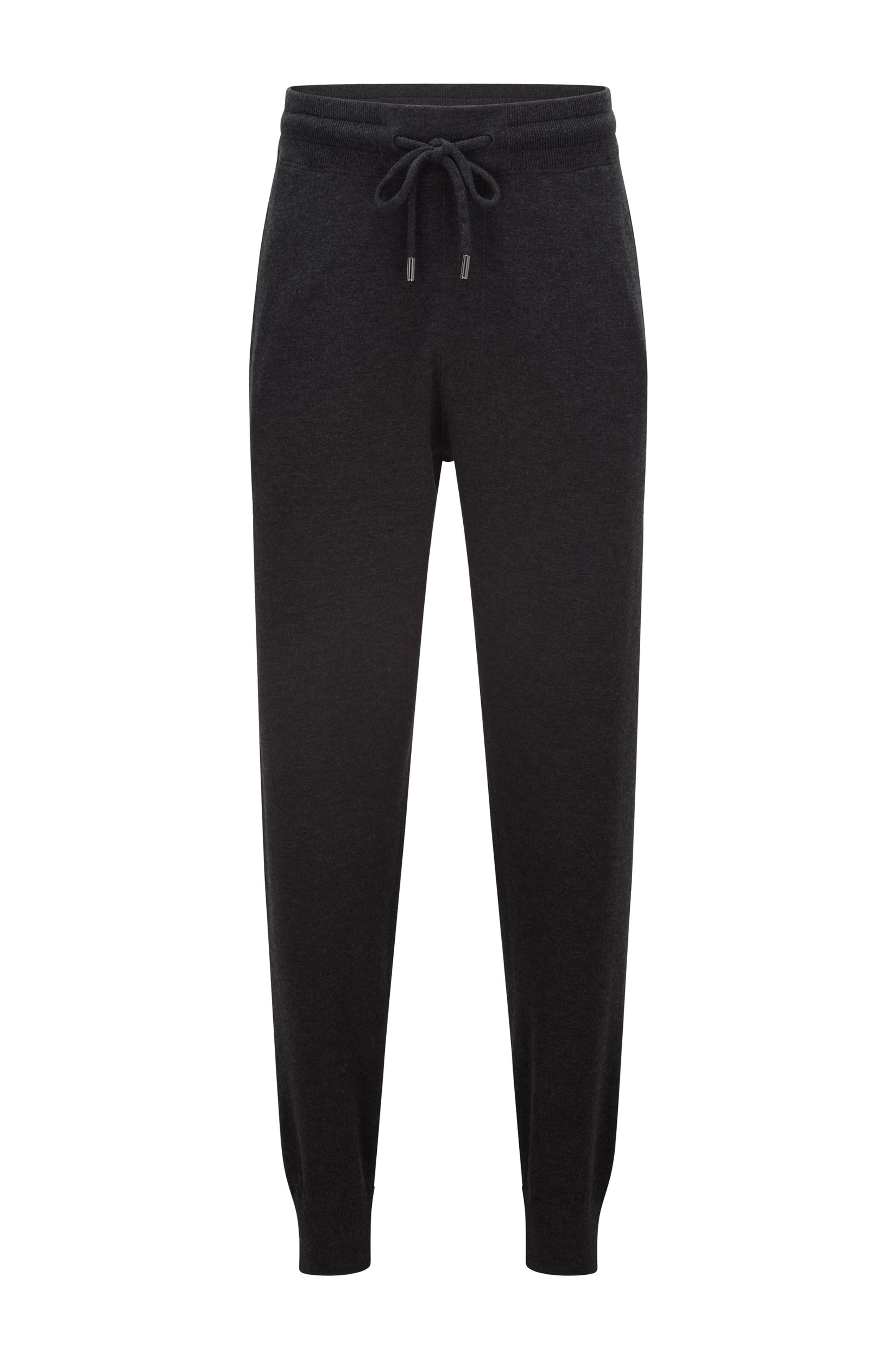 Knitted tracksuit bottoms in virgin wool, cotton and cashmere, Dark Grey
