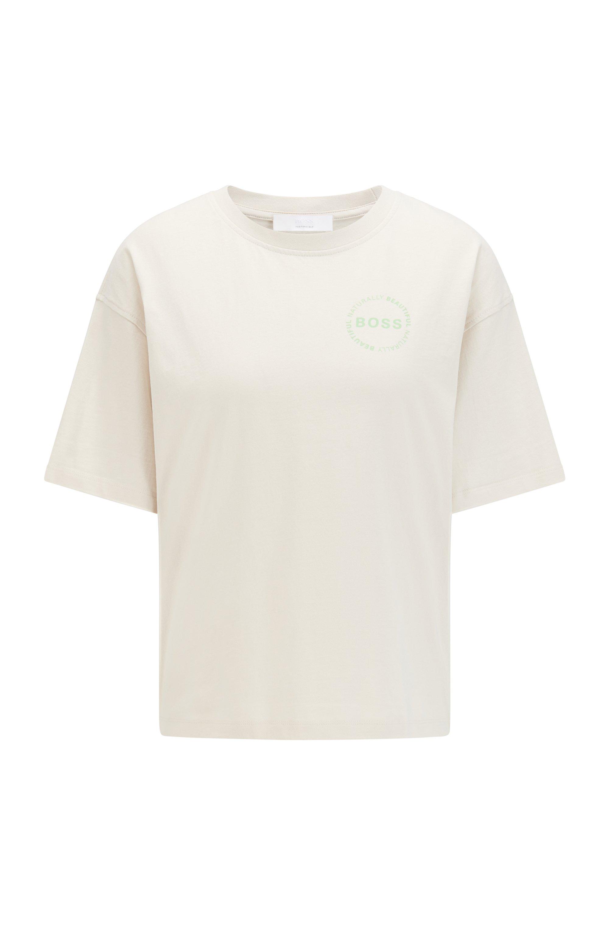 Oversized T-Shirt aus Bio-Baumwolle mit Logo, Weiß