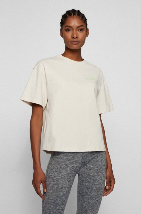Oversized-fit logo T-shirt in organic cotton, White