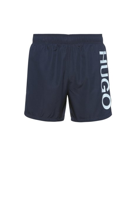 Quick-dry swim shorts in recycled fabric with logo, Dark Blue