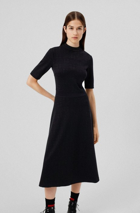 Mock-neck dress in stretch jersey with houndstooth motif, Black