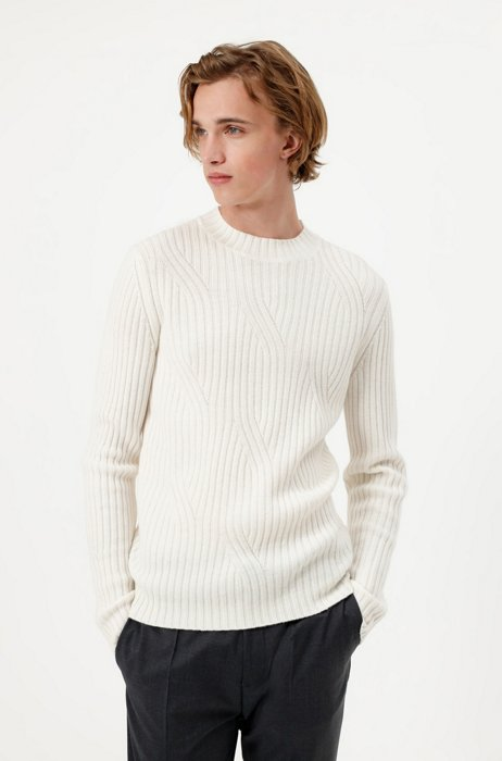 Slim-fit sweater in virgin wool with knitted structure, White