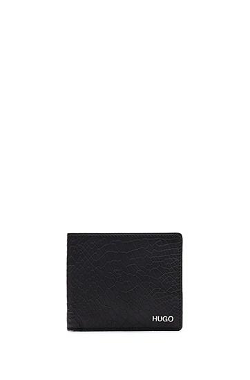 蛇纹压花皮革钱包卡包礼物套装,  001_Black