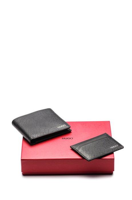 Snakeskin-embossed leather wallet and card holder gift set, Black