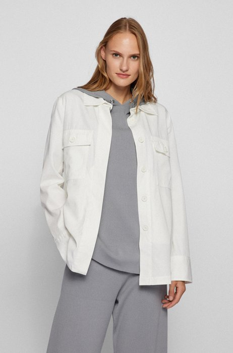 Relaxed-fit blouse in cotton-blend twill with pockets, White