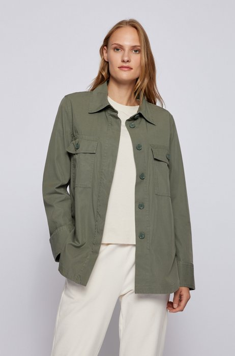 Relaxed-fit blouse in cotton-blend twill with pockets, Dark Green