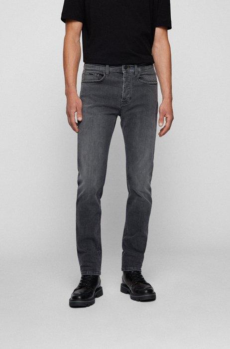 Tapered-fit jeans in black super-stretch denim, Grey