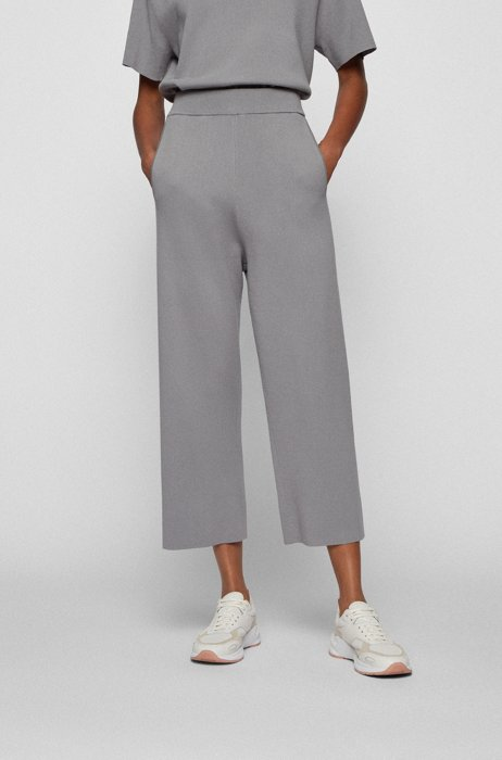 Relaxed-fit cropped trousers in stretch fabric, Silver