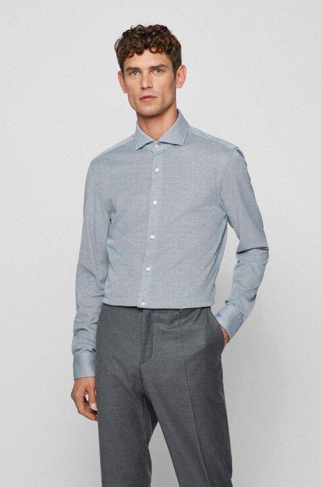 Slim-fit shirt in micro-pattern cotton jersey, Dark Green