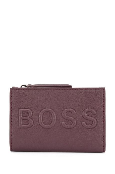 Faux-leather billfold wallet with embossed logo, Dark Red