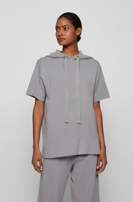 Relaxed-fit hooded sweater with short sleeves, Silver