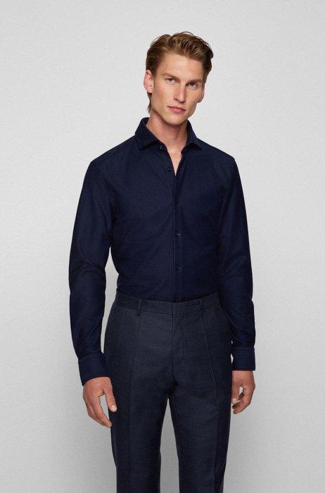 Slim-fit shirt in cotton jersey with spread collar, Dark Blue