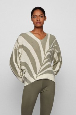 Collection-pattern sweater in an alpaca blend, Patterned