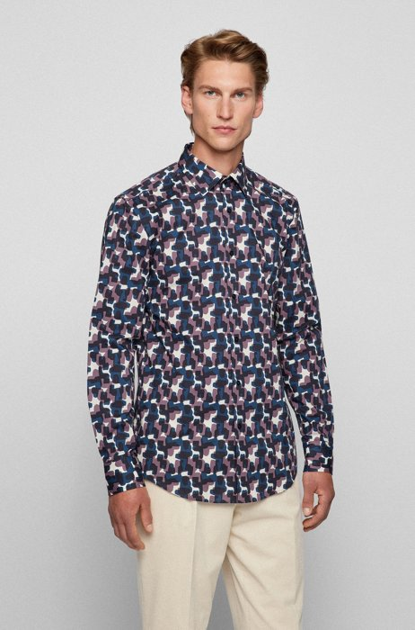 Slim-fit shirt in camouflage-print Italian stretch cotton, Patterned