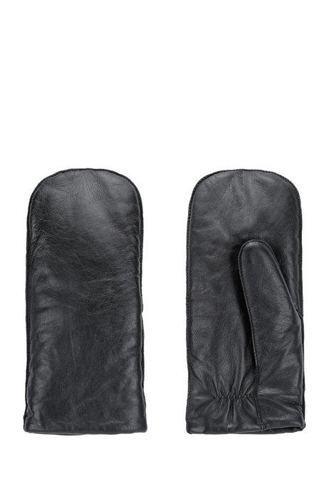 Guantes de piel con remache con logo, Negro