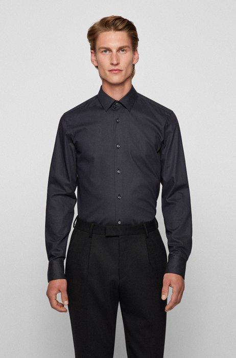 Chemise Slim Fit en twill de coton stretch à micropois, Noir