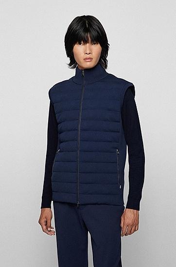 罗纹镶片常规版型夹棉马甲,  404_Dark Blue