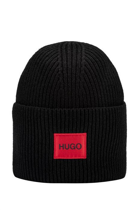 Unisex wool-blend beanie hat with red logo label, Black