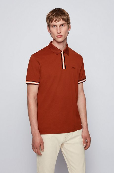Mercerised-cotton polo shirt with striped placket, Light Brown