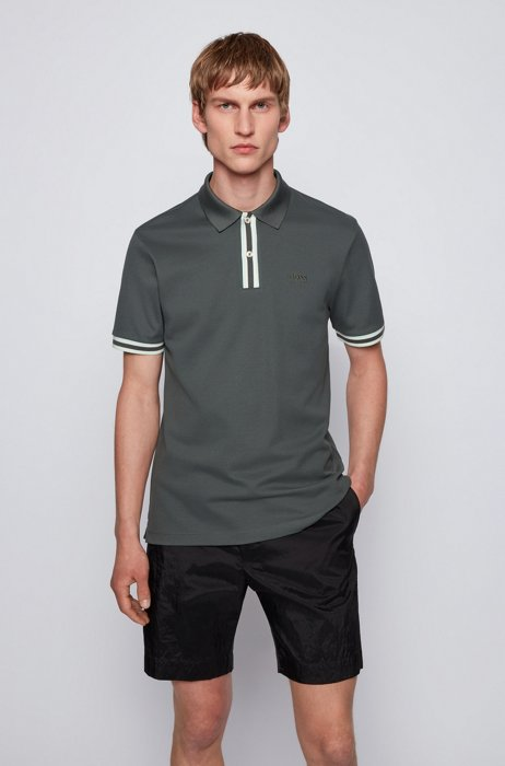 Mercerised-cotton polo shirt with striped placket, Dark Green