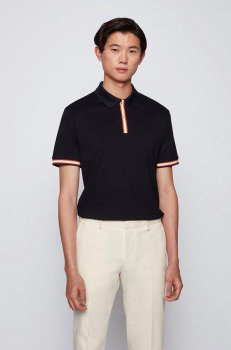 Mercerised-cotton polo shirt with striped placket, Dark Blue