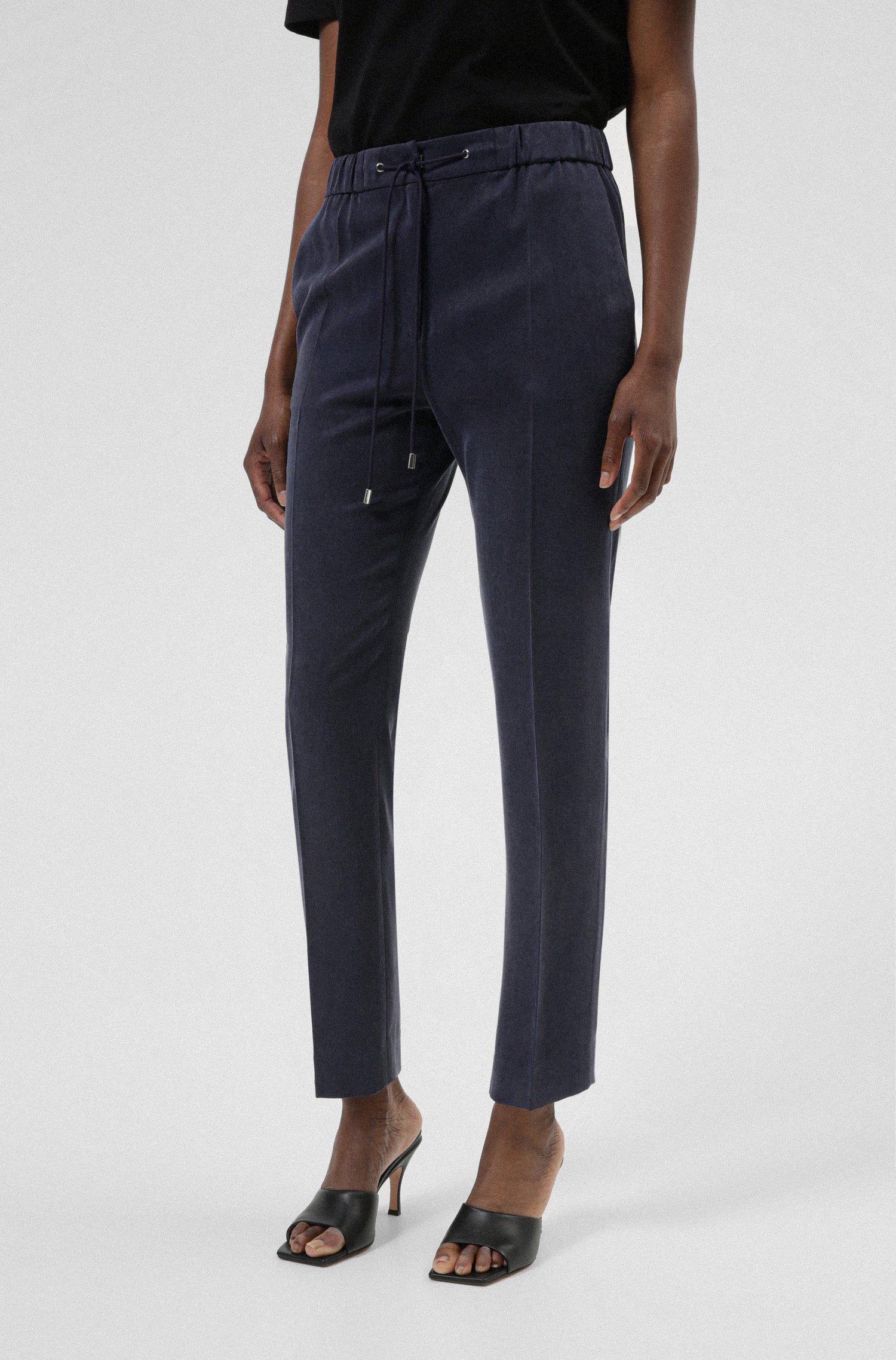 Regular-fit trousers in TENCEL™ Lyocell with drawstring waist, Dark Blue