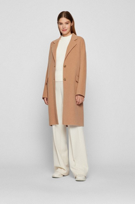 Wool-blend coat with notch lapels, Light Brown