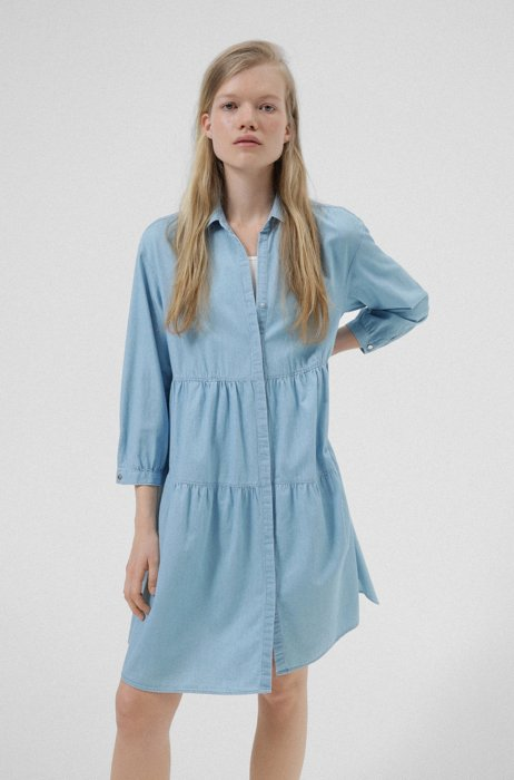 Relaxed-fit blouse in pure cotton with tiered construction, Light Blue