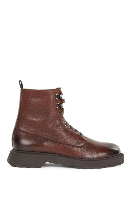Hiking-style boots in Italian leather with shearling lining, Dark Brown