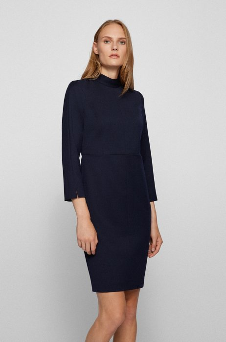 Mock-neck business dress in stretch wool, Dark Blue