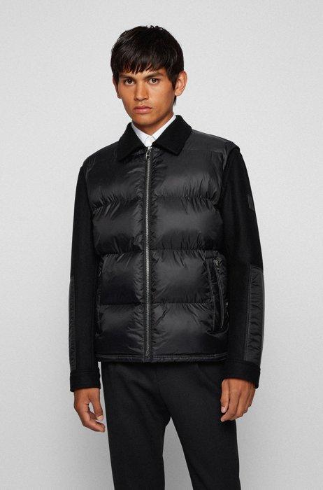 Regular-fit padded jacket in hybrid fabrics, Black
