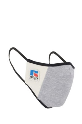 Stoffmaske aus elastischem Interlock-Gewebe mit exklusivem Logo, Grau